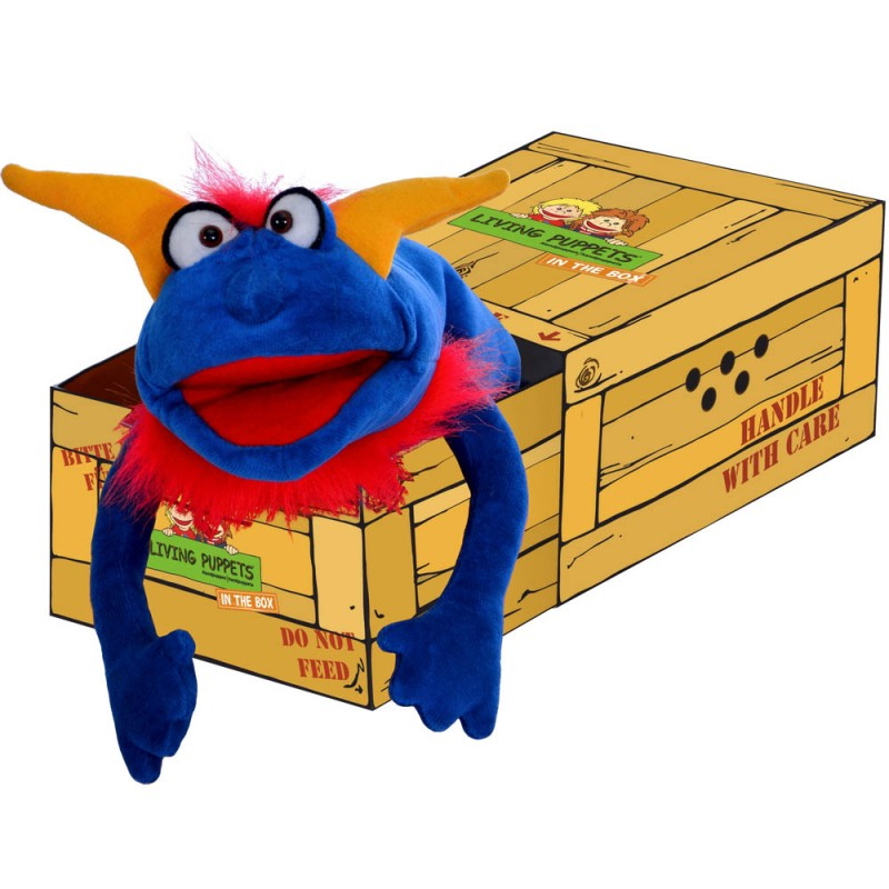 Crazy Blue Monster in the Box - Hand Puppet